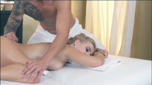 Full body massage - hot oiled up blonde girl gets sensual massage experience