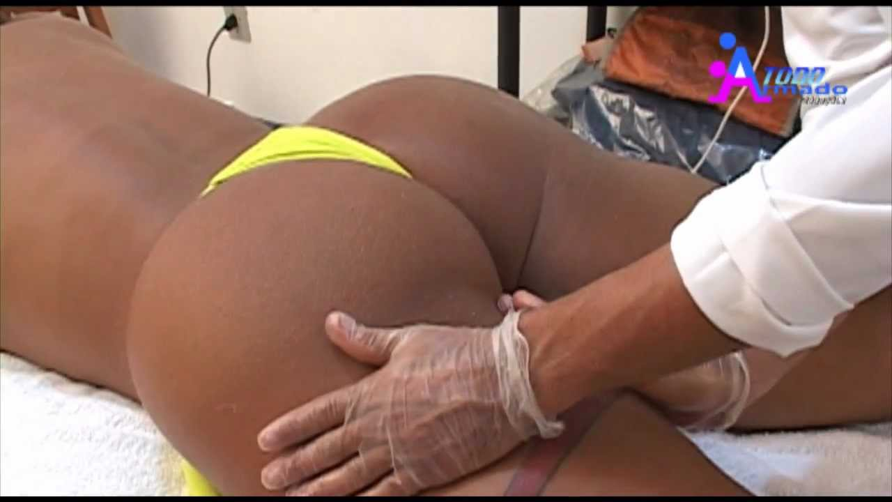 Sexy tanned Brazilian girl gets her bubble butt massaged