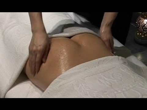 Womens hip and butt massage using oil and a vibrator